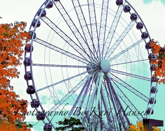 Surreal Ferris Wheel Waterfront Pier Ride Fine Art Photography Seattle's Urban Great Wheel  Wall Art