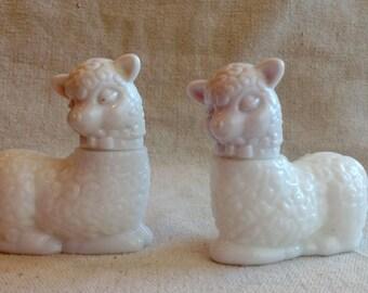 Vintage Avon lamb milk glass perfume bottles two little lambs