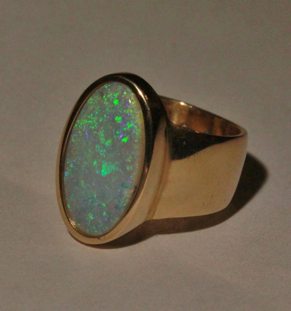 Items Similar To Opal Ring Exquisite Braided Opal: Items Similar To Ladies Black Opal Ring 14k Gold And