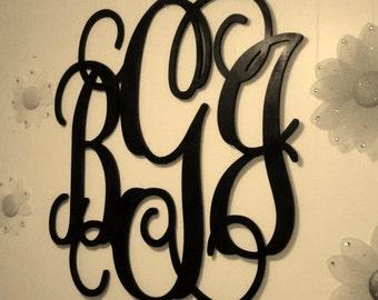 "26"" PAINTED Wooden Monogram Initials, Nursery Decor, Wall Hanging Letters, Wedding Guest Book, Wedding Decor Vine Script Monogram Home Decor"