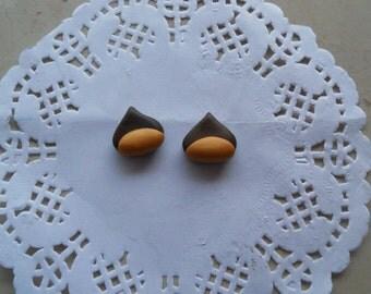 Chestnut fimo earrings