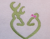 Buck & Doe with a Bow Deer Head Heart Machine Embroidery Design Pattern for a 4X4 Hoop 2 Colors PES, dst, pcs, hus, vip, jef, exp Formats