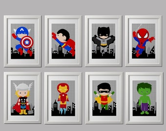 superhero wall prints, SET OF pick 4 prints, high quality prints, 8x10 inch each, spiderman, superman, thor, captain america, batman