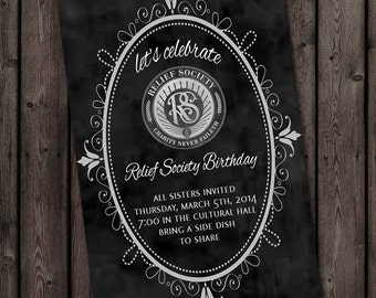 Relief Society Birthday Party Invitation with FREE customized wording