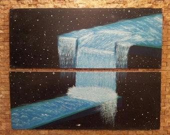 Diptic Pastel Painting: Waterfall off step in space