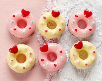 6 Pcs Heart Confetti Doughnut Cabochons - 18mm