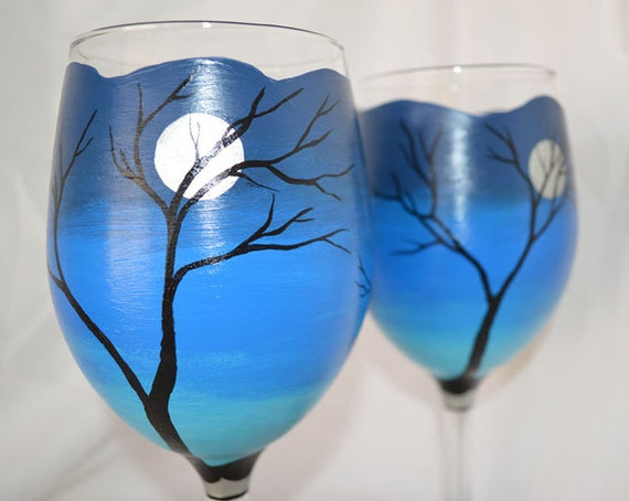 Midnight moon hand painted large white wine glasses set for Large white wine glasses