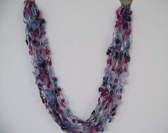 Blueberry Delight Ladder Trellis Yarn Necklace