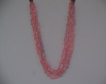 Crystal Pink Ladder Trellis Yarn Necklace