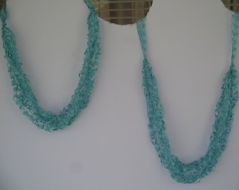 Aqua Ladder Trellis Yarn Necklace
