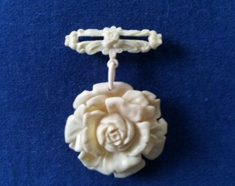 Vintage Celluloid Rose Dangle Brooch Pin, Faux Ivory Carved Rose Brooch