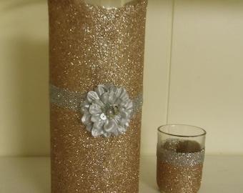 wedding centerpiece, glitter vase, baby shower, baptism centerpiece, bridal shower