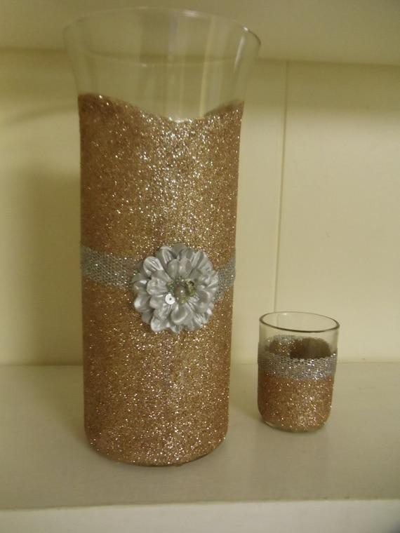 Wedding centerpiece glitter vase baby shower baptism
