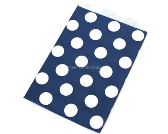 Favor Bags in Dots, 12 Navy Blue Polka Dot Gift Bags, Popcorn Bags, Cookie Bag, Candy Buffet Bags, Candy Bag, Wedding, Baby Shower, Birthday