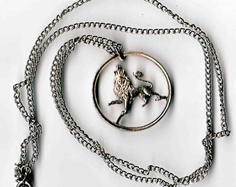 Lion pendent necklace 24 inch silver 2mm