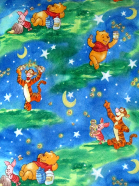 Winnie the pooh starry night fleece fabric by for Starry sky fabric