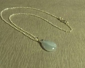 Necklace, Sterling Silver  Necklace with Blue Lace Agate Stone with Sterling Silver Lobster Claw Clasp