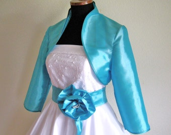 Bolero bridal dress - Sophie-turquoise