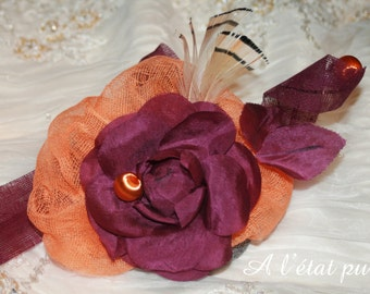Purple and orange fascinator