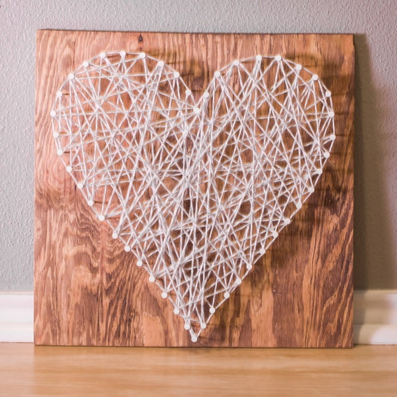 Items Similar To String Art Heart On Stained Wood On Etsy