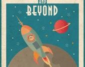 Vintage Space Poster (Space Rocket)
