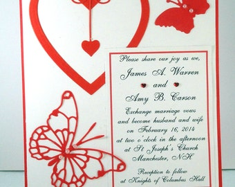 50 Red Hearts and Butterflies on White or Ivory Embellished Invitations for Weddings or any Occasion Customized for You