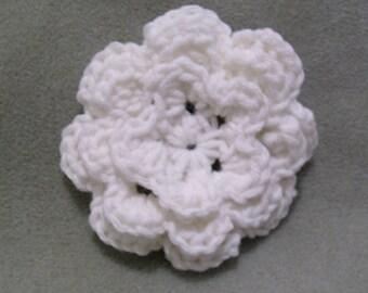White Crochet Flower Hair Clip