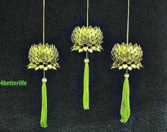 Lot of 3pcs Metallic Gold Origami Hanging Lotus, Size Small. (Metallic Foil paper series). #FLT-12.