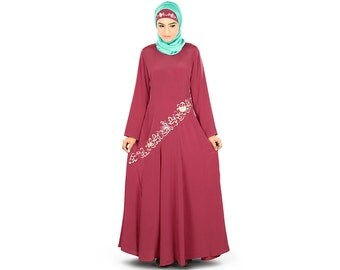 MyBatua Pink Embroidered Flared Abaya at Bottom   AY-325   Rose Pink Color   Muslim Dress   Islamic Clothing   Poly Crepe Fabric
