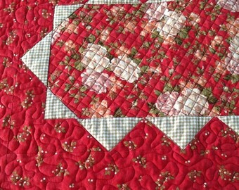 Red Floral Table Runner