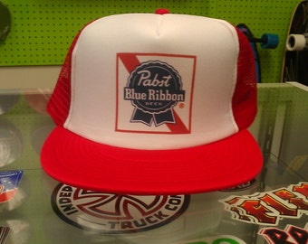 pbr trucker hat color label red white red