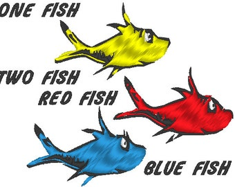 Dr. Seuss's One Fish Two Fish Red Fish Blue Fish Machine Embroidery Design