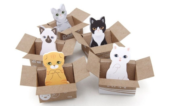 Cat Sticky Note [ 5Types ] / Kitty Sticky Note / Bookmark