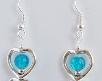 Beautiful turquoise blue and heart earrings