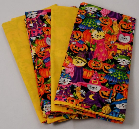 Halloween double sided cloth napkins with free napkin rings for Halloween cloth napkins