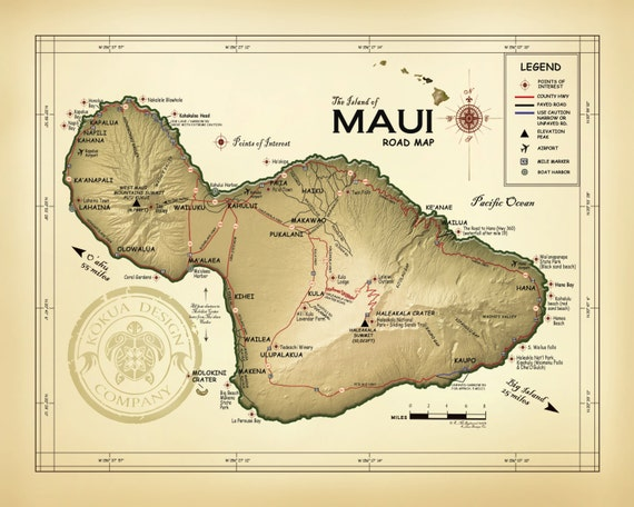 "The Island of Maui ""Kokua Design Co. logo"" Road map"