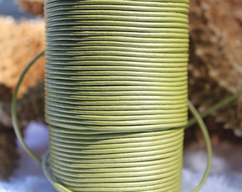1.8mm metallic lime green leather- 25 meters/81.25 feet