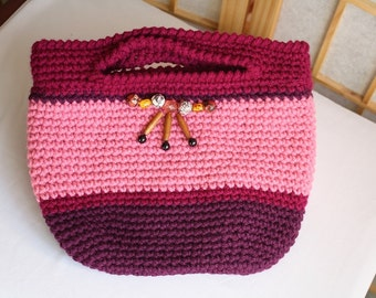 Hand Knit Crossbody Bag Rasberry with GemStones