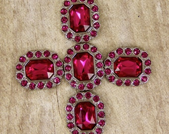 Fuchsia Rhinestone Buttons -10 Acrylic Rhinestone Buttons Surrounded by smaller same color Fuschia rhinestones - 25mm
