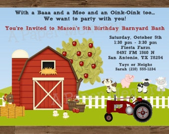 Farm Barn Animals Invitation Birthday DIY Printable