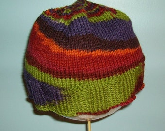 Green rainbow wool hat.