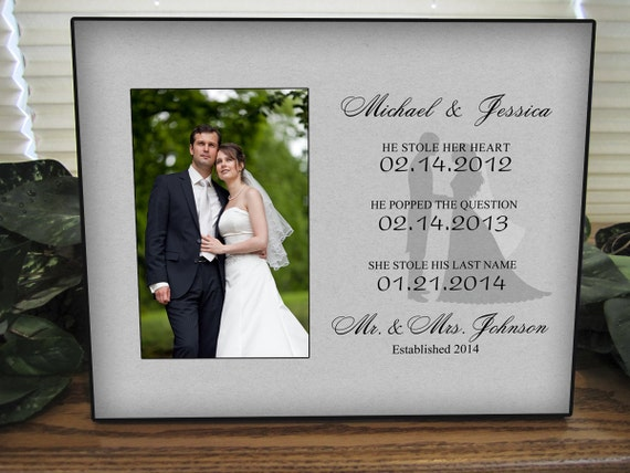 Wedding Date Picture Gift: Personalized Wedding Gift Picture Frame With Name Dates
