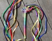 Childrens Rainbow Fairy Ribbon Wand