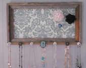 Rustic Barn Wood Frame Jewelry Organizer Holder Teal Scroll Fabric