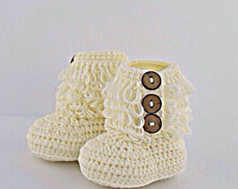 Ready To Ship Best Selling Cream Crochet Booties, Crochet Baby Booties, Boutique Booties, Baby Shoes, Baby Booties, Baby Crochet, Newborn