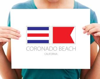 Coronado Beach - California - Nautical Flag Art Print