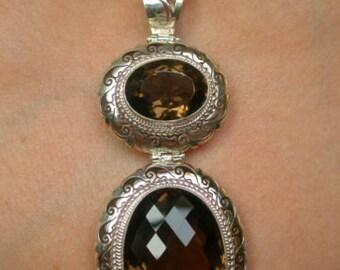 Sterling SILVER PENDANT with 2 Smokey Quartz gemstones