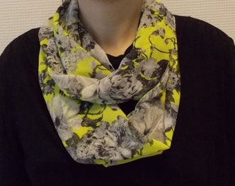 Silk chiffon infinity scarf - Circle scarf for women - circle scarves - scarf with flowers