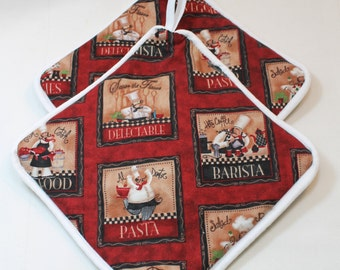Pot Holders/Hot Pads - Chef Print - Designer -Very Thick - Makes a Cute Kitchen Gift!  Kitchen/Housewares Item - Gift under 15