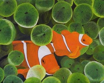 "Original Oil Painting, Sea Anemone, Fish - ""Clown Fish & Green Anemone"" (18"" x 36"")"